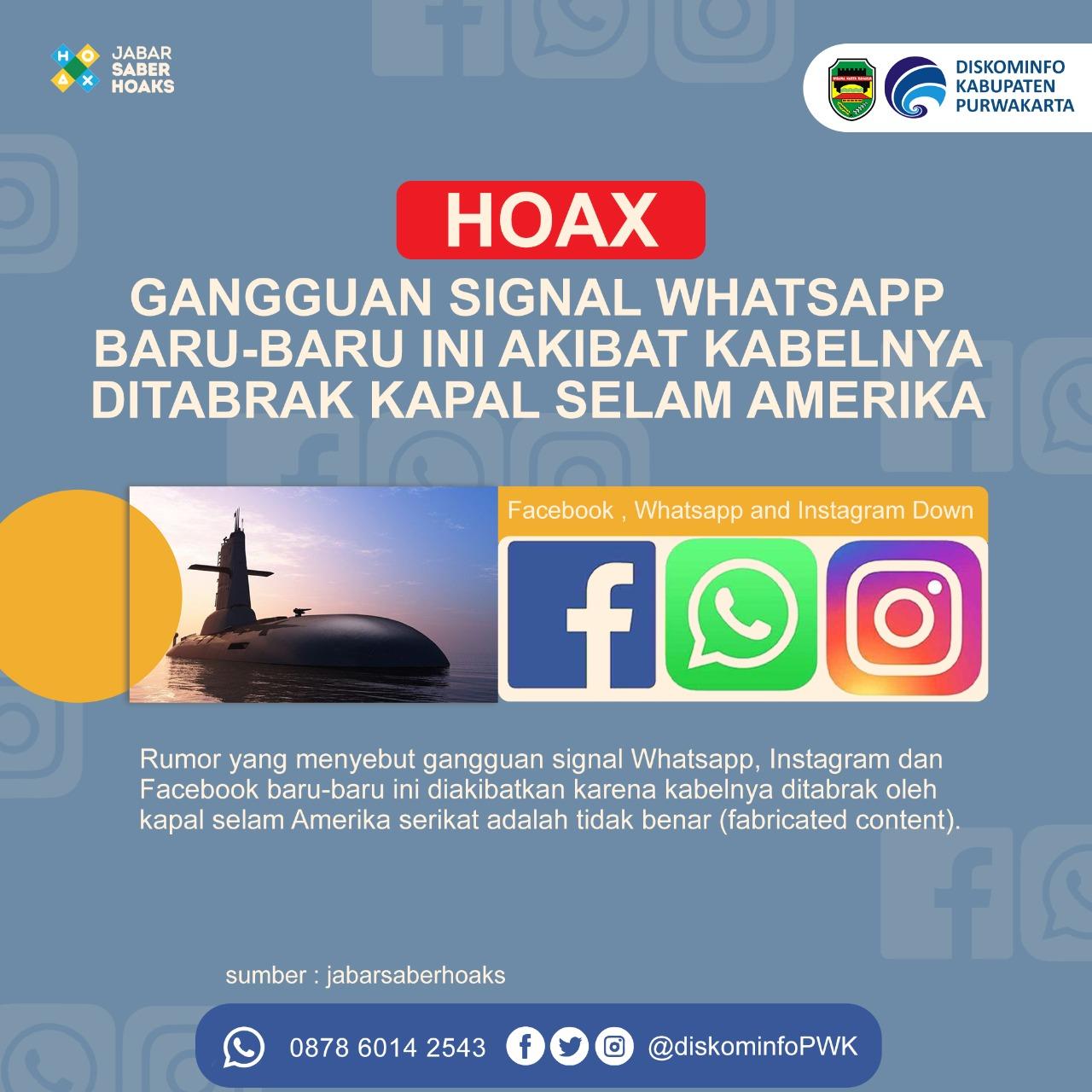 Hoax Gangguan Signal Whatsapp Baru Ini Akibat Kabelnya di Tabrak Kapal Selam Ame